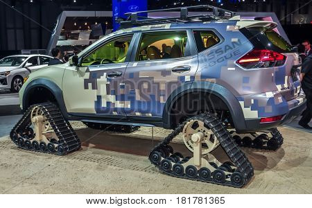 NEW YORK- APRIL 12: Nissan Rogue  shown at the New York International Auto Show 2017, at the Jacob Javits Center. This was Press Preview Day One of NYIAS, on April 12, 2017 in New York City