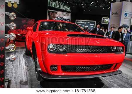 NEW YORK- APRIL 12: 2018 Dodge Challenger SRT Demon  shown at the New York International Auto Show 2017, at the Jacob Javits Center , on April 12, 2017 in New York City