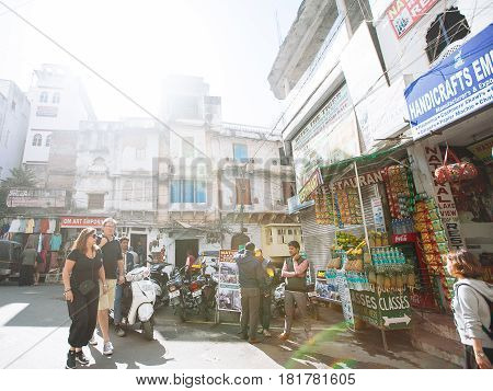 Udaipur, India - March 12, 2017: Shop Street View In Udaipur