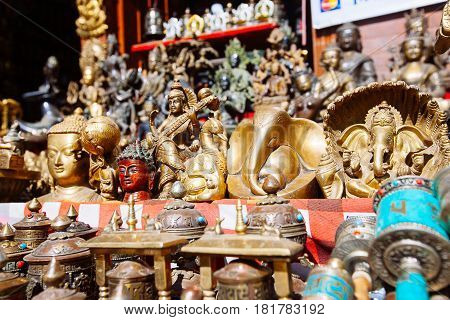 Souvenirs Offered On A Market, Kathmandu, Nepal