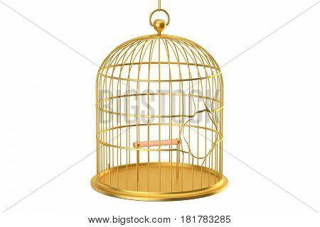 Broken golden bird cage 3D rendering isolated on white background