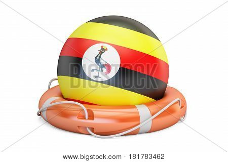 Lifebelt with Uganda flag safe help and protect concept. 3D rendering