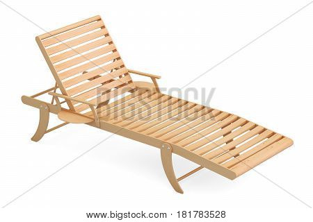 Wooden sun lounger 3D rendering isolated on white background