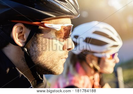 Headshot Of Young Attractive Bearded Caucasian Man Cyclist Taking Part In Bicycle Parade, Selective