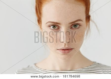 Close Up Highly-detailed Picture Of Beautiful Charming Young Female With Perfect Freckled Skin, Ging