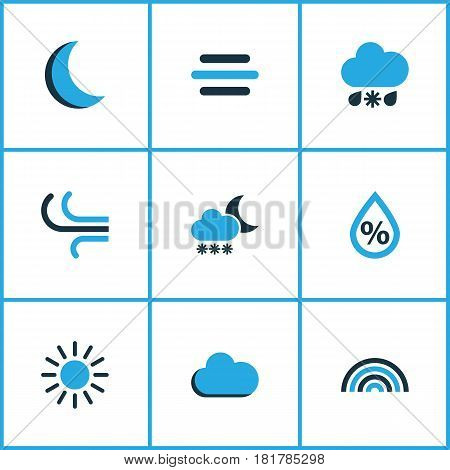 Meteorology Colored Icons Set. Collection Of Fog, Blizzard, Wind And Other Elements. Also Includes Symbols Such As Variegation, Moonlight, Rainbow.