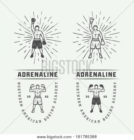 Boxing and martial arts logo badges and labels in vintage style. Monochrome Graphic Art. Vector Illustration.