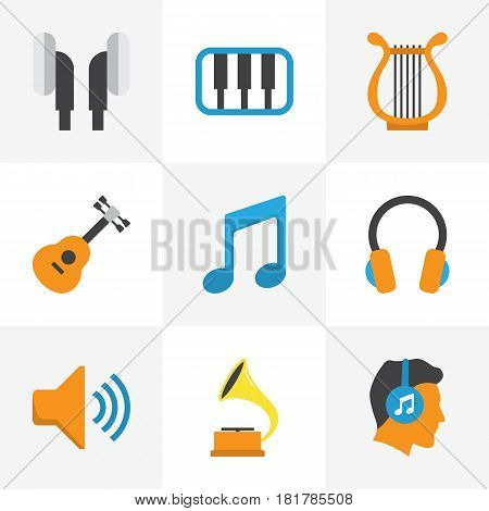 Audio Flat Icons Set. Collection Of Earpiece, Ear Muffs, Audio And Other Elements. Also Includes Symbols Such As Musical, Guitar, Voice.