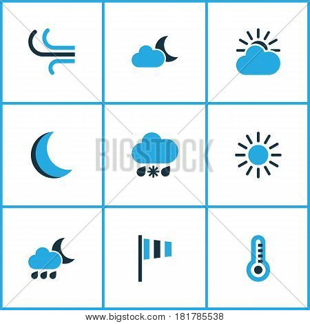 Nature Colored Icons Set. Collection Of Moonshine, Wind Speed, Wind And Other Elements. Also Includes Symbols Such As Sun, Gust, Temperature.
