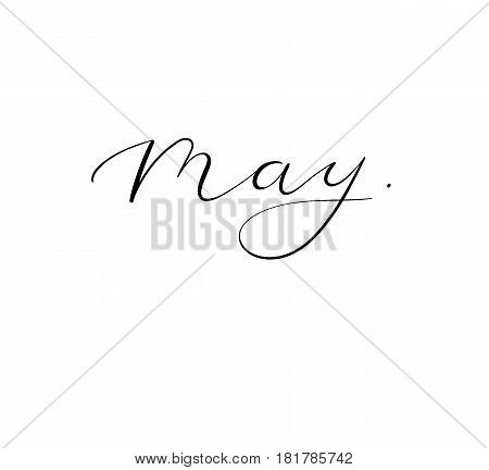 Spring Calligraphy - May. Vector Handwritten Inscription.