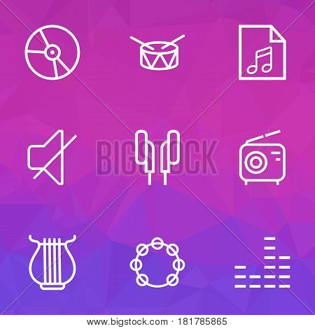 Music Outlines Set. Collection Of Soundtrack, Barrel, Stringed And Other Elements. Also Includes Symbols Such As Music, Vinyl, Circle.