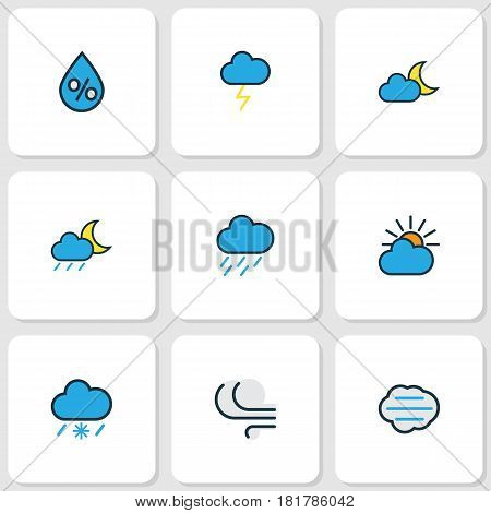 Weather Colored Outlines Set. Collection Of Lunar, Windy, Hazy And Other Elements. Also Includes Symbols Such As Twilight, Cloudburst, Tempest.