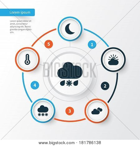 Meteorology Icons Set. Collection Of Weather, Sun-Cloud, Wet And Other Elements. Also Includes Symbols Such As Clouds, Thermometer, Cloud.