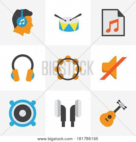 Audio Flat Icons Set. Collection Of Media, Rhythm, Earpiece And Other Elements. Also Includes Symbols Such As Media, Band, List.