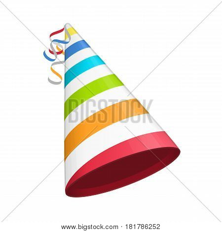 Multicolored party hat with white lines. Accessory, symbol of the holiday. Birthday Colorful Cap vector illustration. EPS 10.
