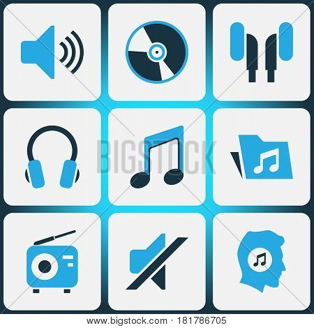 Multimedia Colored Icons Set. Collection Of Music Lover, Volume, Mute And Other Elements. Also Includes Symbols Such As Headset, Earphone, Mute.