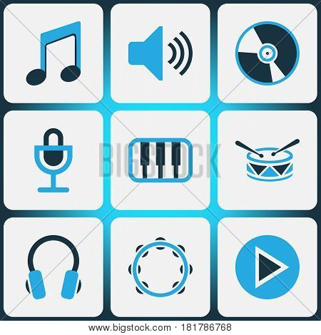Multimedia Colored Icons Set. Collection Of Microphone, Vinyl, Drum And Other Elements. Also Includes Symbols Such As Music, Cd, Percussion.