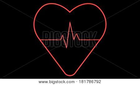 Red heart with pulse on black background. Conceptual digital illustration. 3D rendering.