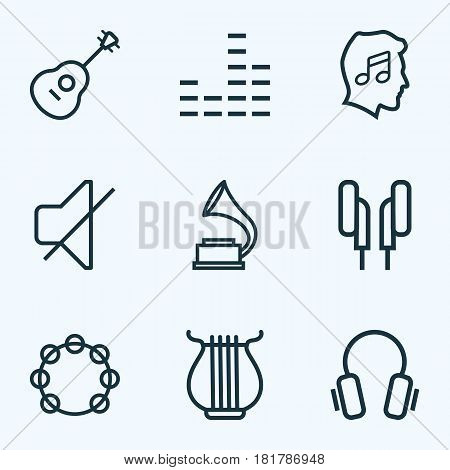 Audio Outlines Set. Collection Of Stringed, Timbrel, Headphones And Other Elements. Also Includes Symbols Such As Melody, Stringed, Sounds.