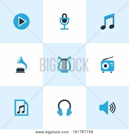 Music Colored Icons Set. Collection Of Play, Microphone, Volume And Other Elements. Also Includes Symbols Such As Speaker, Volume, Fm.