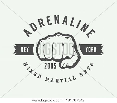Vintage mixed martial arts logo badge or emblem. Vector illustration
