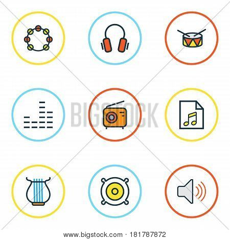 Audio Colored Outlines Set. Collection Of Loudspeakers, Earphones, Harp And Other Elements. Also Includes Symbols Such As List, Radio, Harp.
