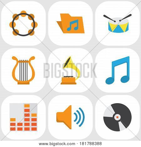 Multimedia Flat Icons Set. Collection Of Shellac, Rhythm, Dj And Other Elements. Also Includes Symbols Such As Dj, Note, Rhythm.