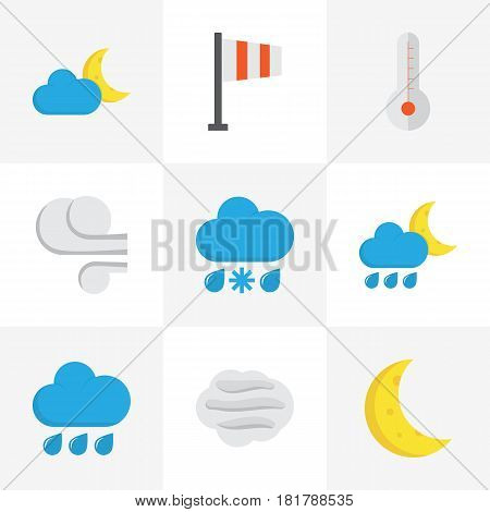 Climate Flat Icons Set. Collection Of Banner, Rain, Hailstones And Other Elements. Also Includes Symbols Such As Banner, Blizzard, Snow.