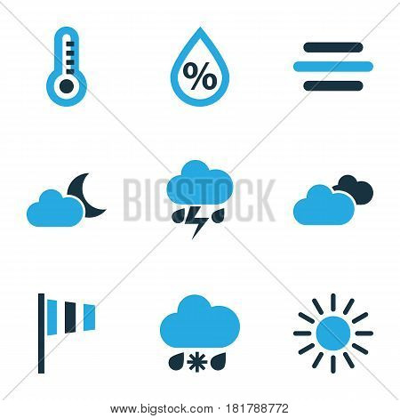 Nature Colored Icons Set. Collection Of Thunderstorm, Cold Weather, Thermometer And Other Elements. Also Includes Symbols Such As Flag, Gust, Summer.