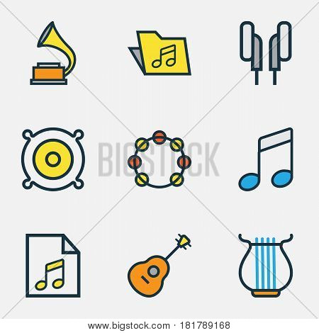 Audio Colored Outlines Set. Collection Of Template, Sound, Headphones And Other Elements. Also Includes Symbols Such As Timbrel, Guitar, Tambourine.