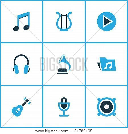 Multimedia Colored Icons Set. Collection Of Headset, Harp, Play And Other Elements. Also Includes Symbols Such As Dossier, Speaker, Guitar.