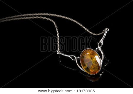 Amber Pendant On Silver Necklace