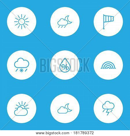 Nature Outlines Set. Collection Of Drop, Lightning, Night And Other Elements. Also Includes Symbols Such As Overcast, Weather, Rainbow.