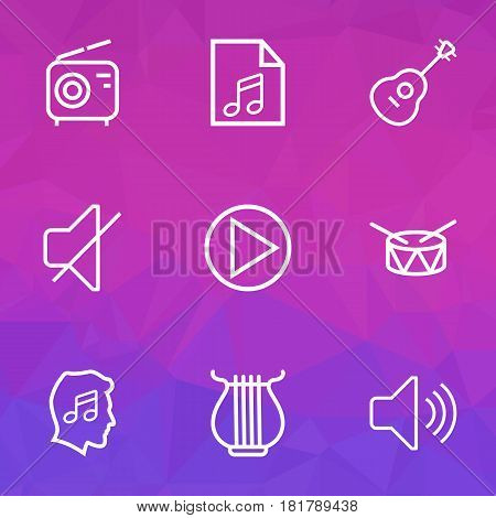 Multimedia Outlines Set. Collection Of Stringed, Soundtrack, Soundless And Other Elements. Also Includes Symbols Such As Wireless, Sounds, Play.