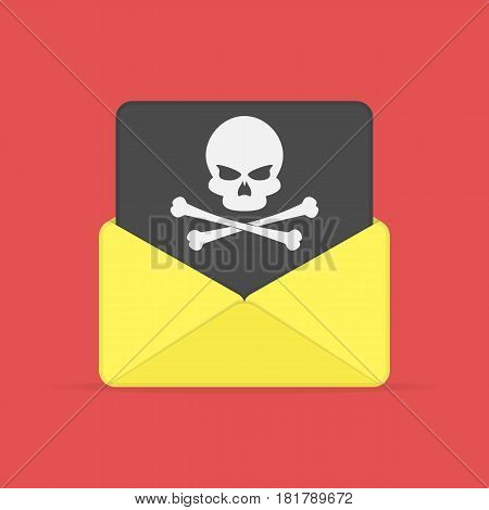 Open envelope and black document with skull icon. Virus, malware, email fraud, e-mail spam or hacker attack concept. Vector illustration in flat style. EPS 10.