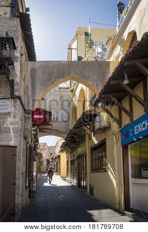 17TH FEBRUARY 2017, RHODES, GREECE - Medieval street in the old town of Rhodes Greece