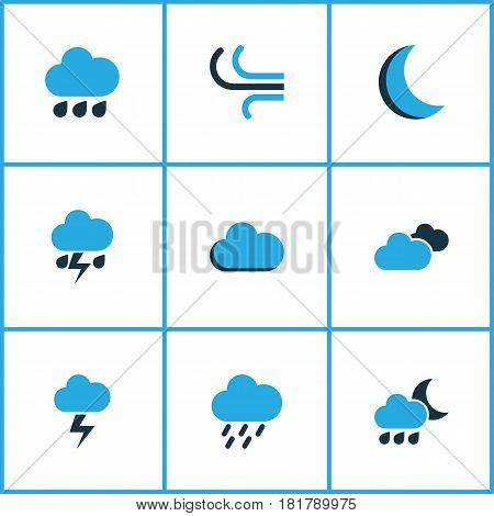 Weather Colored Icons Set. Collection Of Night, Rainstorm, Lightning And Other Elements. Also Includes Symbols Such As Cloud, Overcast, Moon.