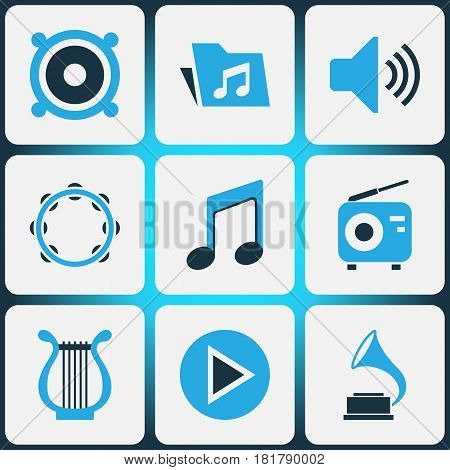 Multimedia Colored Icons Set. Collection Of Harp, Tambourine, Gramophone And Other Elements. Also Includes Symbols Such As Button, Play, Phonograph.