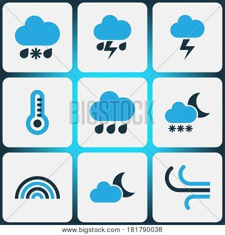 Meteorology Colored Icons Set. Collection Of Thunderstorm, Arc, Cold Weather And Other Elements. Also Includes Symbols Such As Rainbow, Storm, Thermostat.