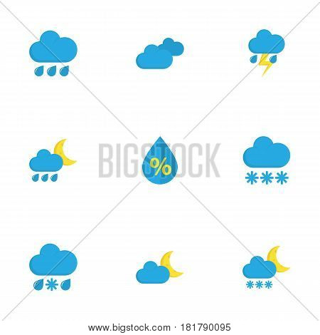 Meteorology Flat Icons Set. Collection Of Rain, Lightning, Drop And Other Elements. Also Includes Symbols Such As Moon, Drop, Flash.
