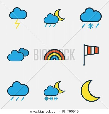 Weather Colored Outlines Set. Collection Of Lunar, Cloudburst, Hail And Other Elements. Also Includes Symbols Such As Freeze, Lunar, Weather.