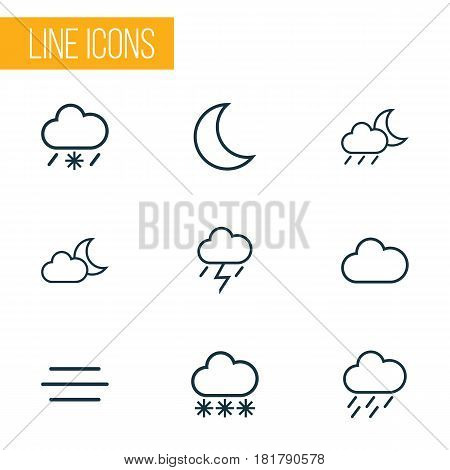 Climate Outlines Set. Collection Of Moon, Rainstorm, Wind And Other Elements. Also Includes Symbols Such As Lightning, Wind, Night.