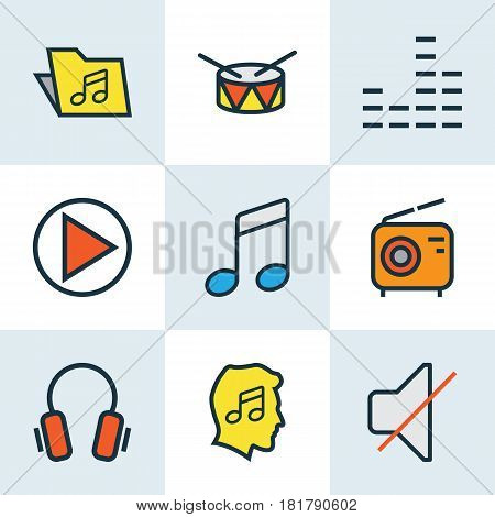 Multimedia Colored Outlines Set. Collection Of Set, Play, Mute And Other Elements. Also Includes Symbols Such As Gadget, Music, Lover.