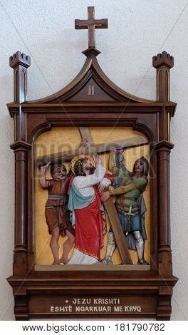 VAU I DEJES, ALBANIA - SEPTEMBER 30: 2nd Stations of the Cross, Jesus is given his cross, Mother Teresa cathedral in Vau i Dejes, Albania on September 30, 2016.