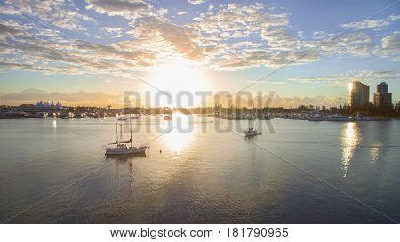 Marina Mirage and boats at sunrise, Gold Coast