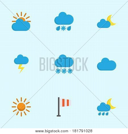 Weather Flat Icons Set. Collection Of Banner, Crescent, Sunny And Other Elements. Also Includes Symbols Such As Cloud, Lightning, Hailstones.