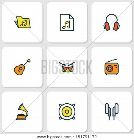 Music Colored Outlines Set. Collection Of Set, Loudspeakers, Earphones And Other Elements. Also Includes Symbols Such As Barrel, Folder, Instrument.