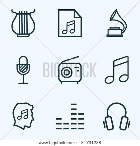 Multimedia Outlines Set. Collection Of Melody, Cover, Stringed And Other Elements. Also Includes Symbols Such As Melody, Mixer, Soundtrack.