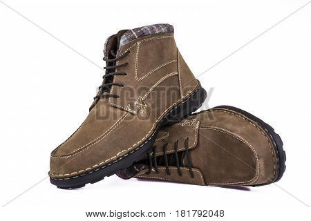 Winter men's shoes on a white background