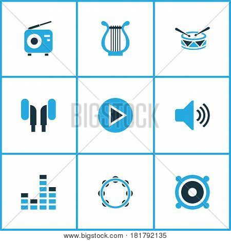 Audio Colored Icons Set. Collection Of Radio, Harp, Drum And Other Elements. Also Includes Symbols Such As Radio, Sound, Start.